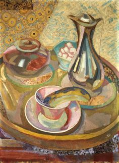 Still Life with Coffee Pot - Roger Fry Bloomsbury Group - mixed technique Duncan Grant, Vanessa Bell, Painting Still Life, Still Life Art, Gmunden Austria, Dora Carrington, Art Cafe, Bloomsbury Group, Post Impressionism