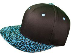 cheetah and turquoise snap back | ... Cotton Blank Flat Bill Leopard Print Snapback Hats(Black/Turquoise