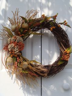 Gorgeous fall wreath made with wheat