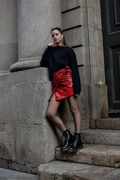 How To Wear A Red Patent Leather Skirt