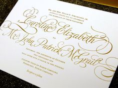 Etsy: Gold Wedding Invitation Suite PRINTED SAMPLE -- Foil and Letterpress -- Calligraphy Simple Modern Script -- pompdesigns