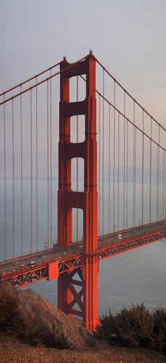 North Tower - North tower of the Golden Gate Bridge in Golden Hour light. Golden Gate Bridge Wallpaper, Golden Gate Bridge Painting, San Francisco Bridge, Bridge Drawing, North Tower, West Coast Road Trip, City Wallpaper, City Photography, Pretty Wallpapers