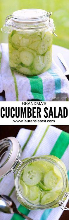 Grandma's Cucumber Salad--an easy summer salad recipe that tastes better the longer it sits! Just like Grandma used to make!