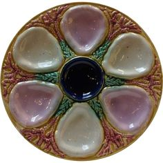 English Samuel Lear Majolica Shell and Seaweed Coral Oyster Plate