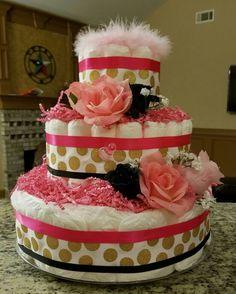 PINK,GOLD,BLACK DIAPER CAKE