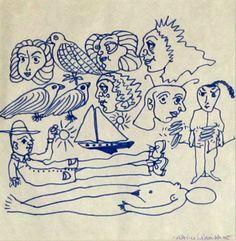 CASTILLO CASALDERREY, Jorge (Pontevedra, 1933).Técnica: dibujo a rotulador sobre papel firmado y fechado 68 en el ángulo inferior derecho. Medidas sin marco 25x26 cm. SOLD / VENDIDO