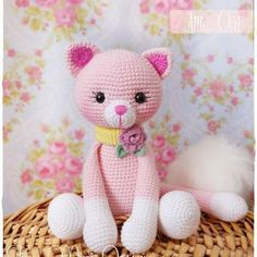 Amigurumi Pink Cat - Amigurumi Pink Cat - Projects to try - . : Amigurumi Pink Cat – Amigurumi Pink Cat – Projects to try – Crochet Cat Pattern, Crochet Animal Patterns, Stuffed Animal Patterns, Crochet Patterns Amigurumi, Cute Crochet, Crochet Animals, Crochet Crafts, Crochet Dolls, Crochet Projects