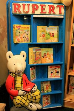 Rupert Bear ~ Hay-on-Wye bookstore. My father's childhood favorite character.