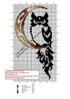 owl & moon - free pattern - she asks you to send her a pic when you stitch it.