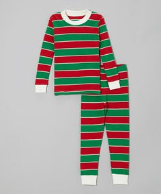 Take a look at this Red & Green Stripe Pajama Set - Infant, Toddler & Kids by Sara's Prints on #zulily today!