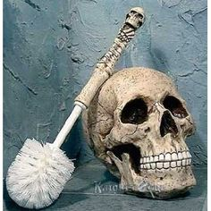 The Scour Skull Toilet Brush for pirate bathroom... cleaning the toilet just got a whole lot more fun.