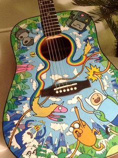 Adventure Time Guitar by Renate Pommerening Adventure Time Acoustic Guitar. I would want to learn to play just because this is AMAZING! Cartoon Adventure Time, Adventure Time Art, Cartoon Network, Abenteuerzeit Mit Finn Und Jake, Finn Jake, Adveture Time, Land Of Ooo, Ukelele, Ukulele Art