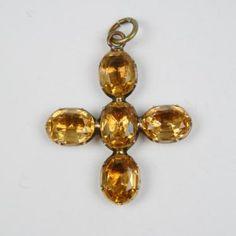"""Golden Topaz paste cross set in gold c1770 English Length 1-1/2"""""""