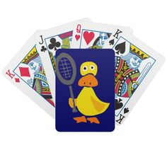 Funny Duck Playing Tennis Cartoon Card Deck #ducks #funny #cards #playingcards #animals #tennis #sports #humor #zazzle #petspower