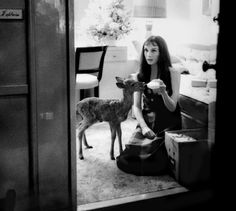 Audrey + pet deer by Bob Willoughby