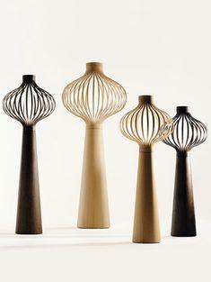 motley iii - freestanding lamp, handcut oak veneers - channel design