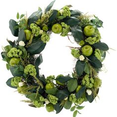 Faux rose and apple wreath with leaves. Custom made in the USA.   Product: Faux wreath  Construction Material: Fabr...