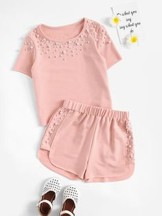 To find out about the Girls Pearl Beading Top & Dolphin Shorts Set at SHEIN, part of our latest Girls Two-piece Outfits ready to shop online today!