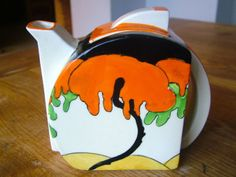 1931 Clarice Cliff Woodland Pattern Stamford Teapot