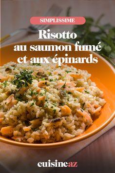 Le risotto est un plat traditionnel de la cuisine italienne. Ici il est au saumon fumé et aux épinards. #recette#cuisine#risotto#italie #saumon #epinard 20 Min, Grains, Rice, Ethnic Recipes, Food, Gourmet, Smoked Salmon, Cooking Recipes, Healthy Meals