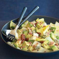 Endive salad with bacon, gorgonzola and avocado