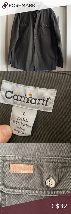 Carhartt heavy cotton Shirt Great condition men's Large Tall Carhartt heavy cotton button down shirt in a khaki green, pic 5 shows small paint stain on collar ( not really noticeable) Carhartt Shirts Casual Button Down Shirts Casual Shirts For Men, Casual Button Down Shirts, Carhartt Shirts, Paint Stain, Plus Fashion, Fashion Tips, Fashion Trends, Khaki Green, Colorful Shirts