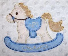 Minky Blanket Rocking Horse applique by LullabyGardens on Etsy, $50.00