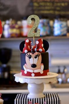 Red Minnie Mouse Birthday Cake Idea. More photos from this 2nd birthday party on www.lolabluestyle.com