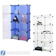 New Songmics DIY Plastic Wardrobe Cupboard Clothes Hanging Rail Storage Shelves cabinet X X cm LPCW Songmics http amazon co uk dp B u