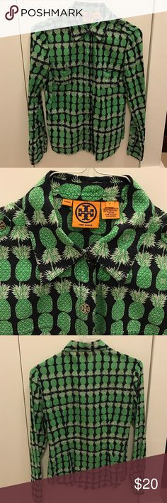 Tory burch button down shirt with logo buttons Good used condition, price reflects the condition. Beautiful pineapple pattern with logo buttons. Breast pockets and epaulets with logo buttons. Tory Burch Tops Button Down Shirts