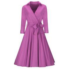 Elegant V-Neck Bowknot Plain Skater Dress (€23) ❤ liked on Polyvore featuring dresses, v neck dress, 3/4 sleeve dress, 3/4 length sleeve dresses, flare dress and v neck flare dress
