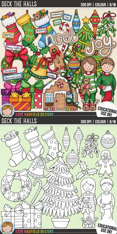 Christams Decorations Clip Art for teachers by Kate Hadfield Designs | Teachers Pay Teachers. Supplied in both hand-painted coloured versions and black and white outlines! #katehadfielddesigns