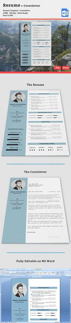 This clean resume / cv file is in the Adobe Photoshop format and Ms Word, so you can use program that you wish to edit the resume, or the cover letter. Cover Letter Format, Best Cover Letter, Cover Letter For Resume, Cover Letter Template, Resume Design Template, Cv Template, Resume Templates, Graphic Design Cv, Cv Design