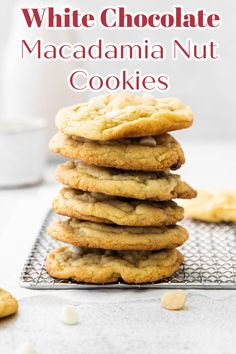 White Chocolate Macadamia Nut Cookies - Delicious cookies jam-packed with white chocolate chips and chopped macadamia nuts. Easy to make and so good! Cookie Recipe | White Chocolate Macadamia Nut Cookies Recipe | White Chocolate Chip Cookies #cookies