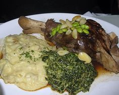 silence of the lamb shank with chianti glaze and fava beans.  The Stinking Rose, A Garlic Restaurant.