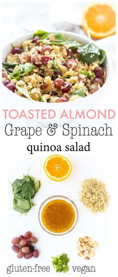 Toasted Almond, Grape & Spinach Quinoa Salad | Haute & Healthy Living Healthy Bbq Recipes, Clean Eating Recipes, Salad Recipes, Healthy Eating, Yummy Recipes, Healthy Food, Vegan Recipes, Edamame Salad, Salads