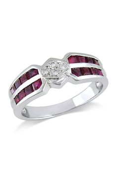 1 CT Ruby And Diamond Ring In 18k White Gold