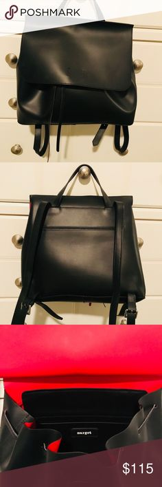 Margot black leather purse backpack This purse is super cute.... I haven't seen one like it. Black leather with a bright red interior.  Can be worn as a purse or backpack. New/never worn margot Bags Backpacks