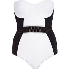River Island Black and white colour block swimsuit found on Polyvore