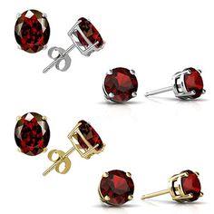 $9.99 - 2 Carat TGW Garnet Stud Earrings