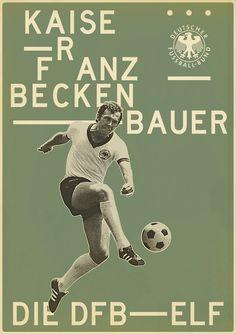 Franz Beckenbauer – from Sucker for Soccer by Zoran Lucić, via Behance Art Football, Soccer Art, Football Icon, Soccer Poster, Football Is Life, Football Design, Retro Football, World Football, Michael Ballack