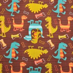 Dinosaurs Michael Miller Fabric, Tweety, Dinosaurs, Kids, Fabrics, Fictional Characters, Random, Friends, Art