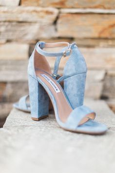 Baby blue suede high heel sandals