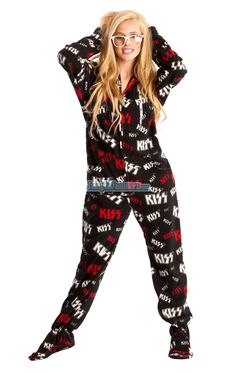 All attitude all night. Our one piece Footie Pajamas feature a Hoody, Thumb holes, Front pockets and a left shoulder pocket. Made from 100% polar fleece, preshrunk, machine washable. Sleep with a rockstar in KISS Jumpin Jammerz!   These limited edition prints are now at clearance prices, grab one before they are gone. THIS IS A FINAL SALE. NO EXCHANGES AND/OR RETURNS PLEASE.Promo Codes not Applicable. $29.95