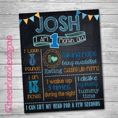 Monthly Milestone Chalkboard Month to Month by CheeriozDezigns