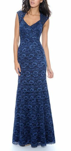 Navy Floral Cap Sleeve Gown- AlmOst looks like the dress I'm getting for prom