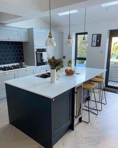 Open Plan Kitchen Living Room Ideas, Kitchen Diner Extension, Open Plan Kitchen Diner, Living Room Kitchen, Kitchen Ideas, Grey Kitchen Designs, Kitchen Room Design, Modern Kitchen Design, Home Decor Kitchen
