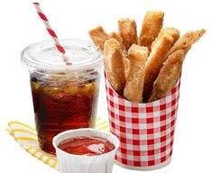 Recipe for Faux French French Fries | Instructions  Step 1.Fill a skillet with 2 inches of vegetable oil. Heat to 365 degrees F.   Step 2. Mix 1/2 cup sugar and 1 to 2 tablespoons cinnamon on a plate.   Step 3. Cut stale white bread into sticks and fry until golden, about 1 minute. Regular bre