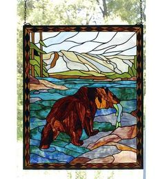 Beautiful bear stained glass.