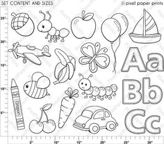 Alphabet Digital Stamps Part 1 ABC clip art School